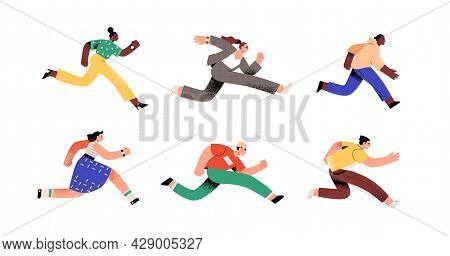 Set Of Ambitious People Running Fast, Hurrying To Their Goals And Rushing On Urgent Businesses. Conc