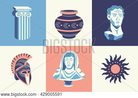 Antique Statues Design Concept With Square Compositions Of Ancient Pillars And Helmets With Portrait