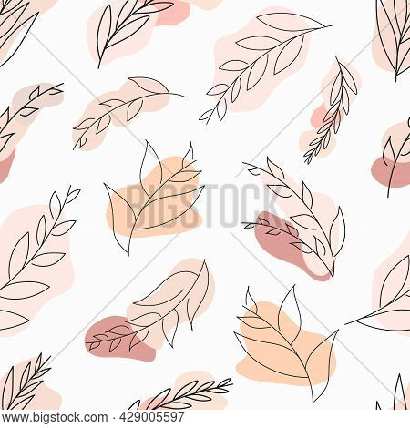 Abstract Leaves Vector Modern Stories Background. Geometric Floral Illustration Background. Hand Dra