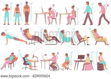 Flat Set With People Demonstrating Correct And Incorrect Postures While Walking Sitting Exercising I