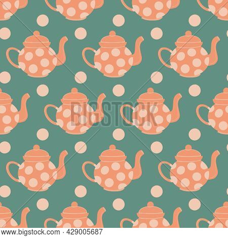 Seamless Pattern Background With Tea Pot, Dots On Blue Background. Cute Hand Drawn Ceramic Peach Col