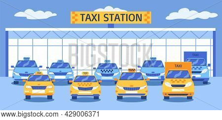 Taxi Park Composition With Front View Of Automotive Station Building With Various Types Of Yellow Ca