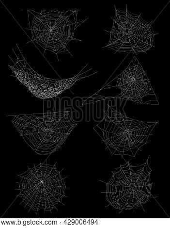 Realistic Spider Web Cobweb Set Of Isolated Images With Circle Shaped Web With Different Angle Views