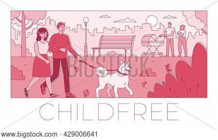 Voluntary Childlessness Flat Vector Illustration Not To Have Children