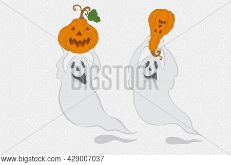 Two White Ghost With Angry Face Holding Orange Halloween Pumpkin Illustration Drawing, Isolated And