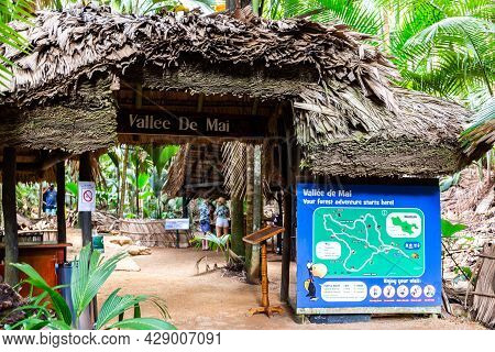 Praslin, Seychelles, 01.05.2021. Vallee De Mai Nature Reserve Entrance Gate With Thatched Roof With