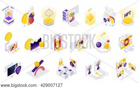 Cryptographic Art Crypto Art Nft Isometric Set Of Isolated Icons With Coins Holographic Figures And
