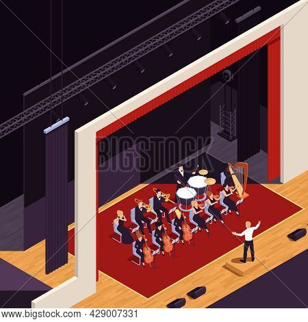 Grand Theatre Performance Isometric Background With Orchestra Symbols Vector Illustration