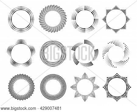 Collection Halftone Circle Frame Vector Flat Illustration Dotted Circularly Distributed Round Border