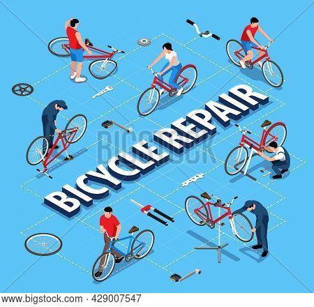 Bicycle Repair Flowchart With Handicraftsmen Repairing Bikes Using Stand Holder Isometric Vector Ill