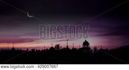 Ramadan Kareem Religion Symbols. Mosques Dome In Twilight Night With Crescent Moon And Sky Dark Blac