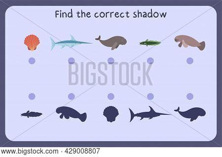 Matching Children Educational Game With Sea Animals - Shall, Swordfish, Dugon, Manatees, Catfish. Fi