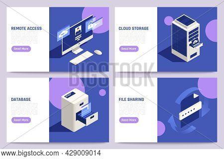 Cloud Remote Access Secure Data Storage Exchange Database File Sharing Platform 4 Isometric Webpages
