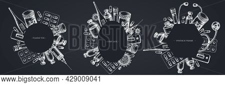 Frames With Chalk Vial Of Blood, Pills And Medicines, Medical Thermometer, Coronavirus Rapid Test, C