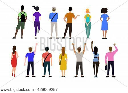 Back View Of People In Casual Clothes Vector Illustrations Set. Men And Women Standing, Waving, Watc