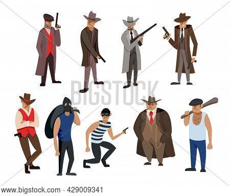 Gangster And Mafia Cartoon Characters Vector Illustrations Set. Killers And Criminals In Hats, Mafia