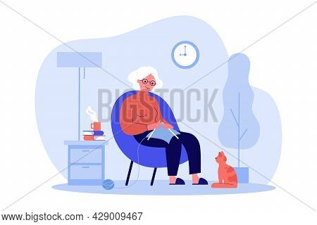 Red-haired Cat Watching How Grandmother Knitting. Flat Vector Illustration. Elderly Woman Resting In