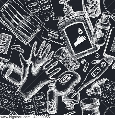 Seamless Pattern With Hand Drawn Chalk Pills And Medicines, Medical Face Mask, Sanitizer Bottles, Me