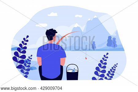 Man Catching Fish On Shore Of Mountain Lake. Flat Vector Illustration. Young Man Holding Fishing Rod