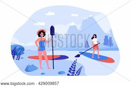 Woman Paddle Boarding On Lake In Mountains. Female Character In Swimsuit Standing On Shore With Padd