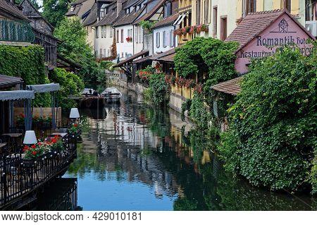 Colmar, France, June 27, 2021 : Petite Venise District Houses. Petite Venise Is A Picturesque Touris