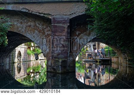Colmar, France, June 27, 2021 : Cruise Under A Tunnel Of The Lauch River. Petite Venise Is A Picture