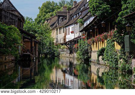 Colmar, France, June 27, 2021 : Petite Venise District Touristic District. Petite Venise Is A Pictur