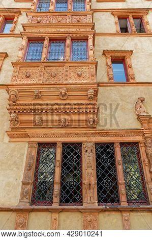 Colmar, France, June 27, 2021 : Maison Des Tetes (heads House). This Renaissance House Owes Its Name