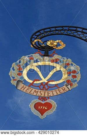 Colmar, France, June 26, 2021 : Sign For Stores In City Center. City Has A Rich Architectural Herita