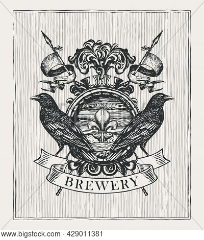 Old Brewery Coat Of Arms In Vintage Style. Hand-drawn Illustration. Vector Heraldic Coat Of Arms Wit