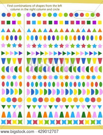 A Game For Children. Find The Sequence Of Shapes From The Left Column To The Right Column And Circle