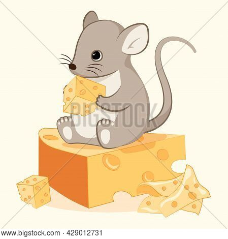 Cute Cartoon Mouse. Small Mouse Sits On Piece Of Cheese And Eats It. Rodent In House. Children Illus