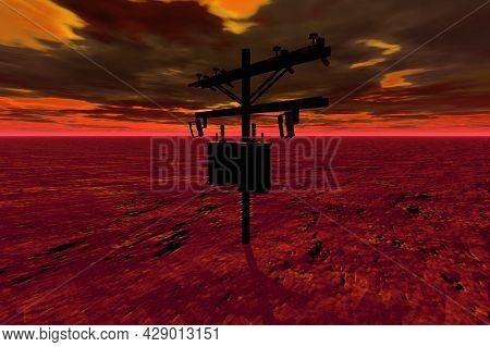 Mailbox In The Red Desert Surreal Scene 3d Rendering