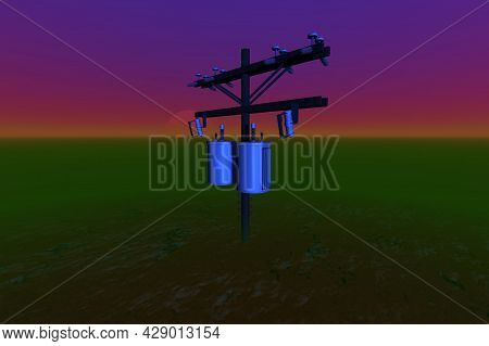Electric Pole With Neon Light In The Green Desert Surreal Scene 3d Rendering