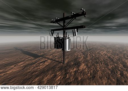 Silver Electric Pole In The Brown Desert Grey Sky Surreal Scene 3d Rendering