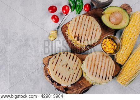 Top View Of Arepas, Breakfast In Colombia And Venezuela, Made With Corn Flour
