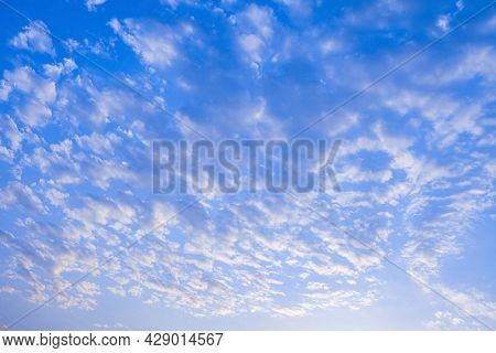 Nature Background. Beautiful Blue Sky With Cloud In Day