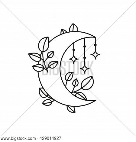 Boho Floral Crescent Moon With Leafy Branches And Jewelry.