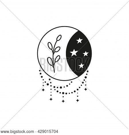 Bohemian Outline Crescent Moon With Leafy Twig, Beads And Stars Isolated On White Background. Witchy