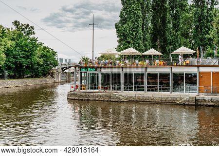 Prague, Czech Republic-august 4,2021.jazz Dock Music Club On Vltava River.concerts,performances,live