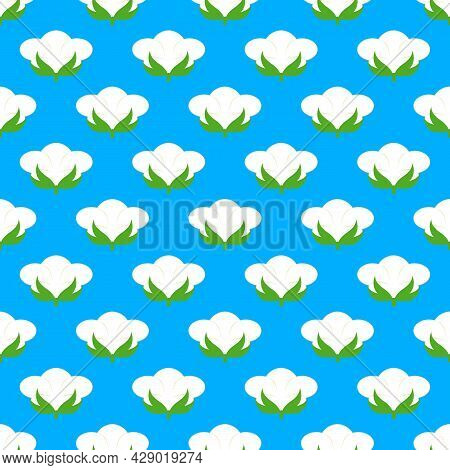 Floral Cotton Pattern With White Flowers For Fabric, Website Background, Paper Packaging And Other I