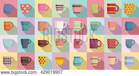 Mug Icons Set Flat Vector. Coffee Cup. Steam Hot Mug
