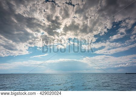 The beautiful landscape of the Baltic Sea at cloudy day. Poland.