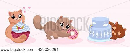 Cute Little Kitty. Fluffy Cat Play With Sweets. Animals Of Gray, Red Brown Color Eat Sweet. Children