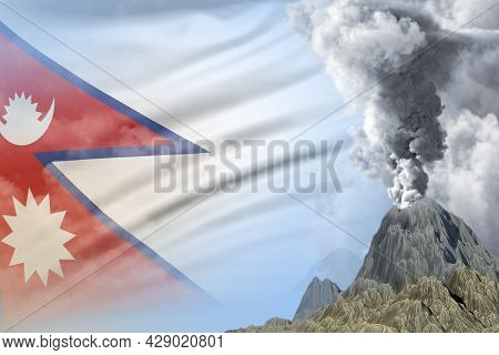 Stratovolcano Blast Eruption At Day Time With White Smoke On Nepal Flag Background, Suffer From Erup