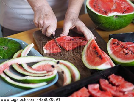 Agricultural Background With Watermelons. The Season For Harvesting Dried Fruits.the Hands Of An Eld