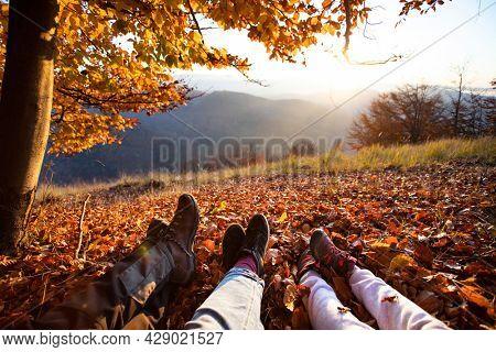 Legs of traveler family sitting in autumn forest. Family concept.