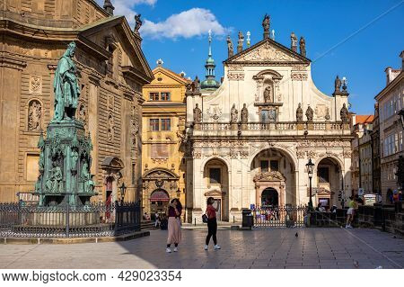 Prague, Czech Republic - 29.07.2021: Panoramic View At The King Charles Iv Monument At Crusaders Squ