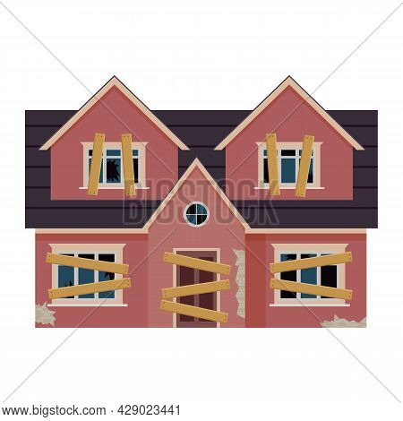 Old Abandoned House Cartoon. Decaying Suburban Cottage With Broken Windows. Vector Illustration In A
