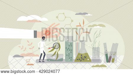 Organic Chemistry And Nature Scientific Research In Lab Tiny Person Concept. Green Plants Learning A